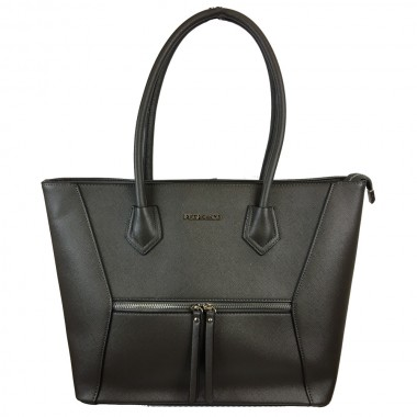 Flora & Co | F5619 Shopper Saffiano | Donker Grijs