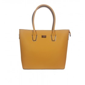 Flora & Co | F9246 Shopper Saffiano | Okergeel