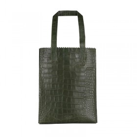 MYOMY | My Paper Bag Long Handle zip | croco vetiver green