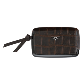 Tru Virtu | Card Case Croco Leather Line | Brown