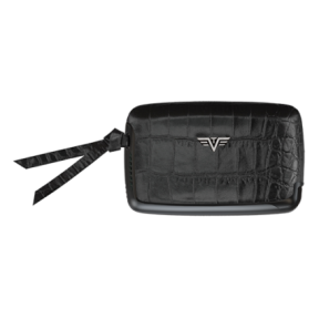Tru Virtu | Card Case Croco Leather Line | Black